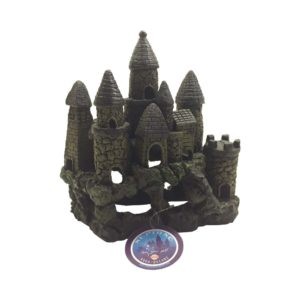 Seven Tower Castle Aquarium Ornament on Mossy Rock